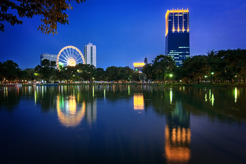 Parque de Lumpini en Bangkok/Tailandia foto de archivo libre de regalías