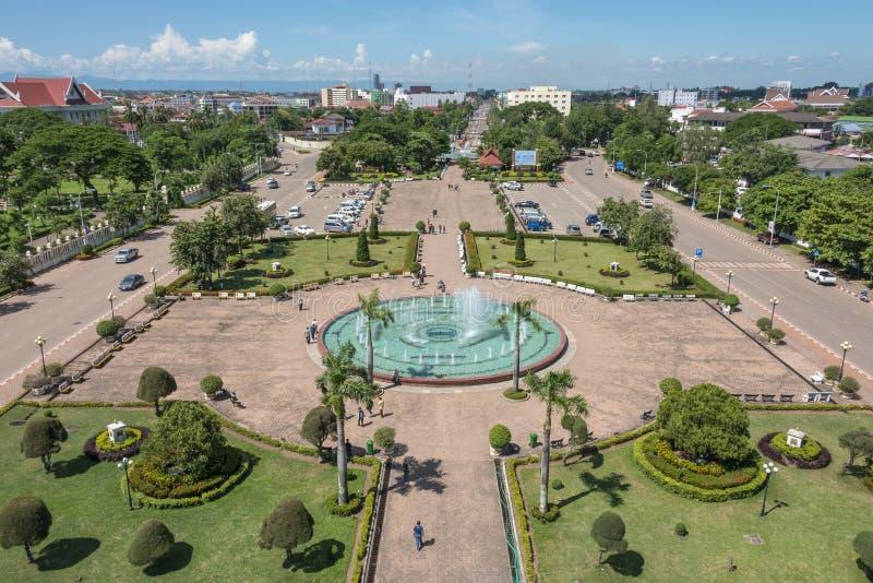 Parque de Patuxai en Vientián, Laos foto de archivo