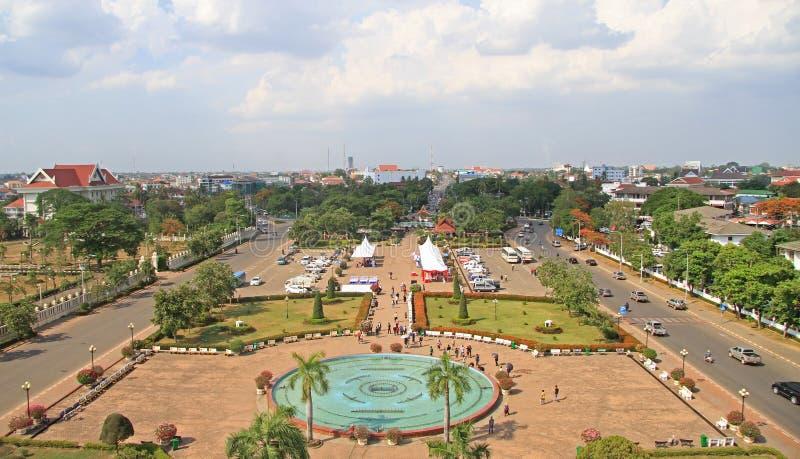 Parque de Patuxay em Vientiane, vista da parte superior de imagens de stock