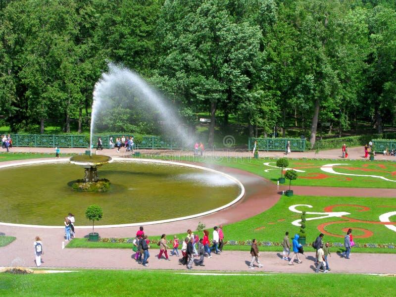 Parque de Peterhof, Rússia, fonte Chasha, pessoa foto de stock