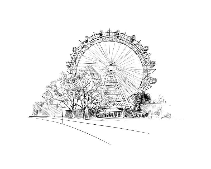 Parque de Prater Ferris Wheel Viena, Austria Ejemplo dibujado mano del vector del bosquejo libre illustration