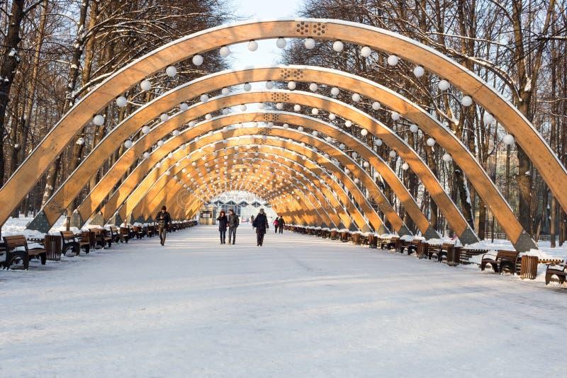 Parque de Sokolniki, día de invierno soleado, arco de madera - símbolo del PA foto de archivo