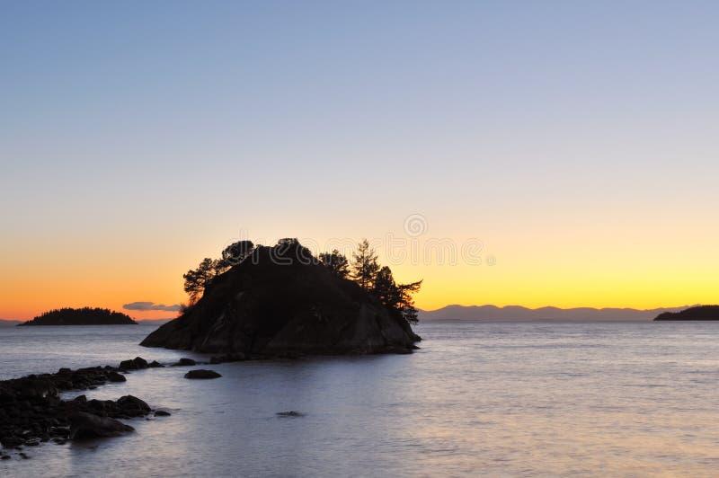 Parque de Whytecliff en la puesta del sol fotografía de archivo libre de regalías