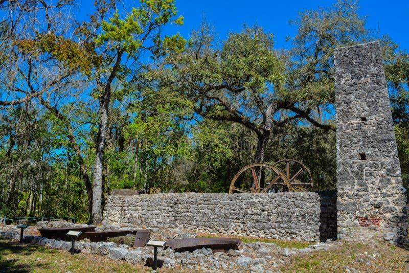 Parque de Yulee Sugar Mill Ruins Historic State fotografia de stock