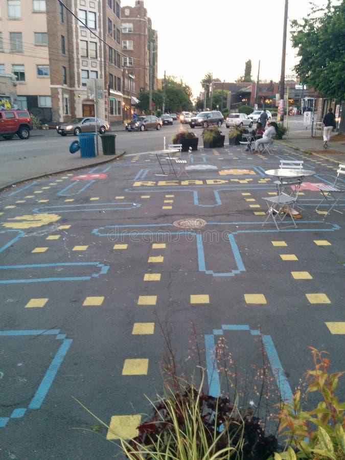 Parque del arte de la calle del Pac-hombre en Seattle, visión amplia imágenes de archivo libres de regalías