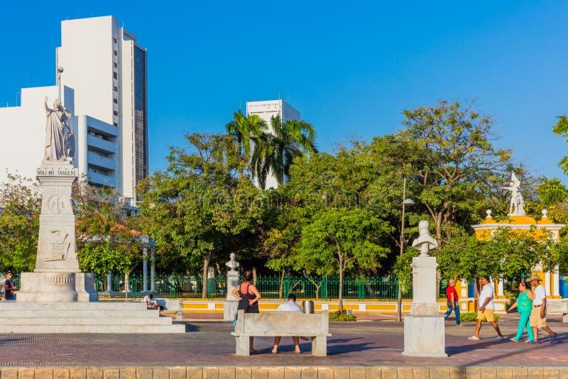 Parque del Centenarior Cartagena de los indias Bolivar Colombia. Cartagena , Colombia  - March 5, 2017 : people in front of Parque del Centenario of Cartagena de royalty free stock image