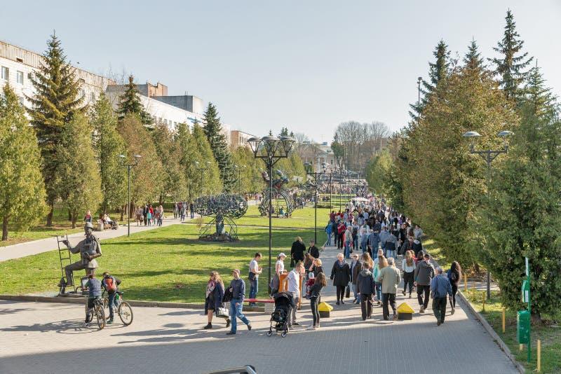 Parque del cisne en Rovno, Ucrania imagen de archivo