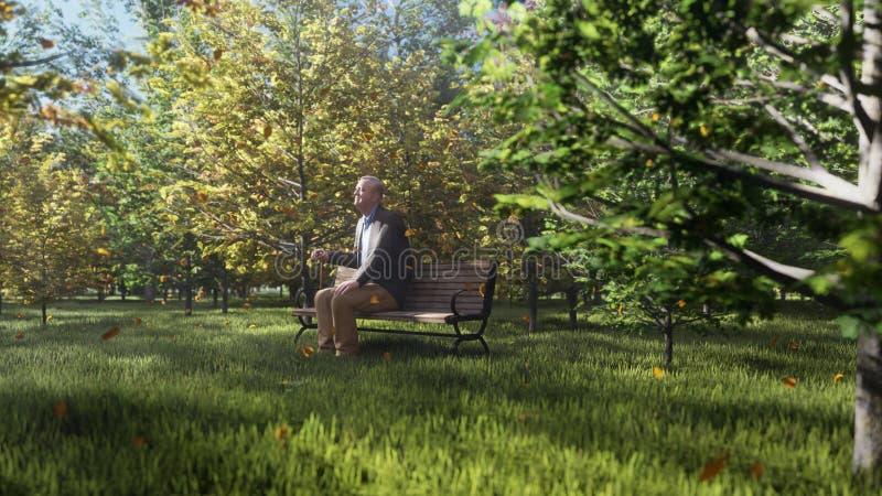 Parque del color del oto?o Vista de los ?rboles coloridos del oto?o en un d?a soleado del oto?o El viejo abuelo se est? sentando  stock de ilustración