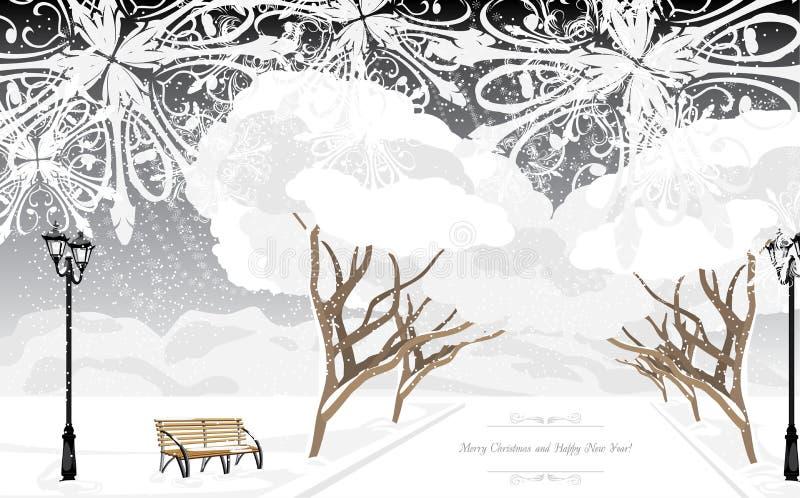 Parque del invierno en el tiempo de la tarde Tarjeta de Navidad libre illustration