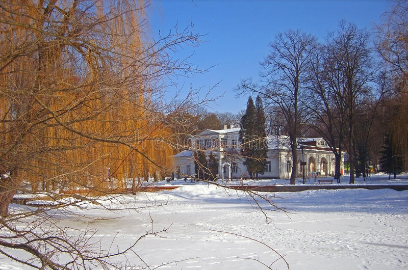 Parque del invierno en la pequeña ciudad imagen de archivo libre de regalías