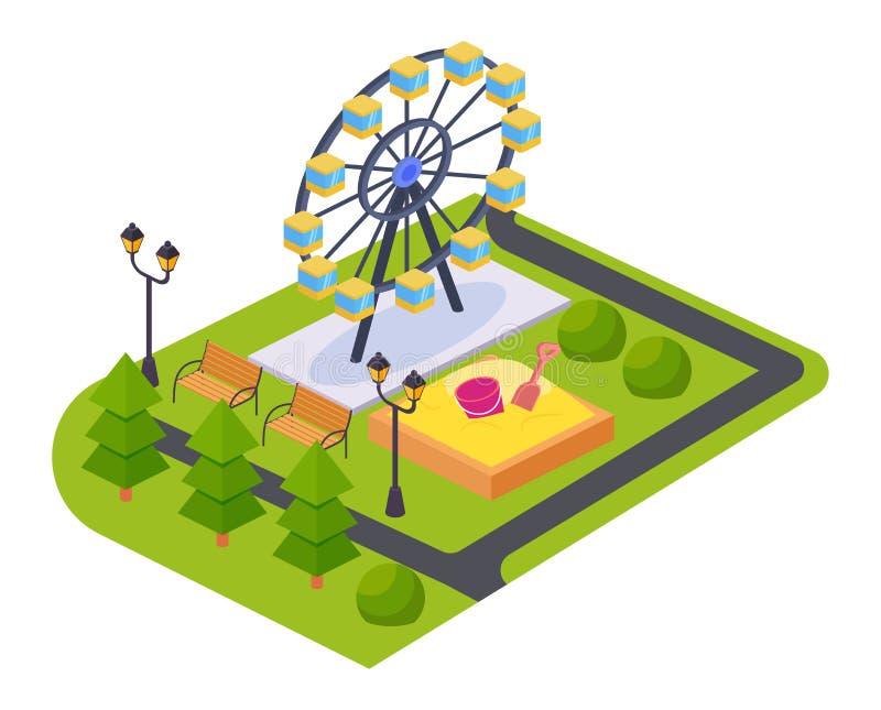 Parque del juego de los niños de atracciones y de entretenimientos, con paisaje adyacente libre illustration