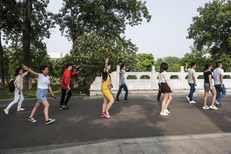 Parque del lago Xuanwu, grupo de estudiantes universitarios, cambiando el vídeo de la formación fotos de archivo libres de regalías
