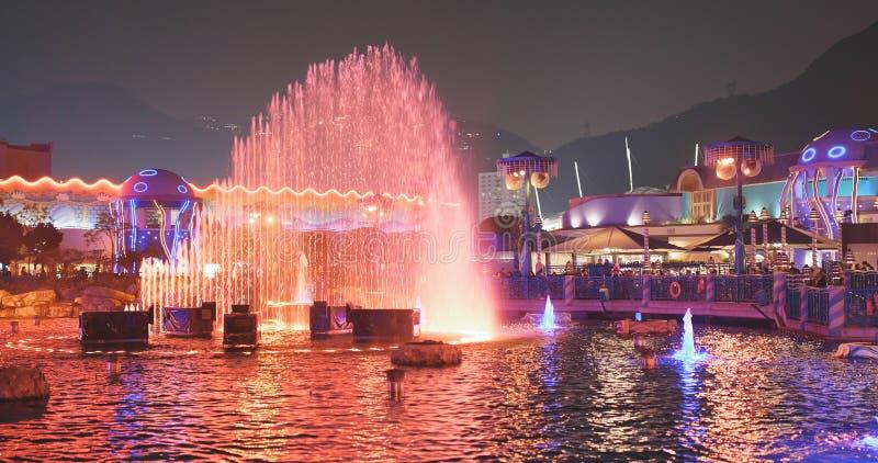 Parque del océano, Hong Kong 9 de diciembre de 2017:- demostración ligera en el océano imagenes de archivo
