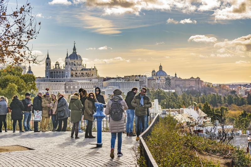 Parque del Oeste Parkera, Madrid, Spanien arkivbilder