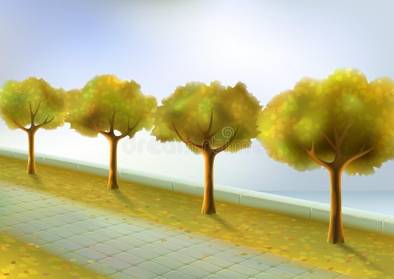 Parque del otoño stock de ilustración