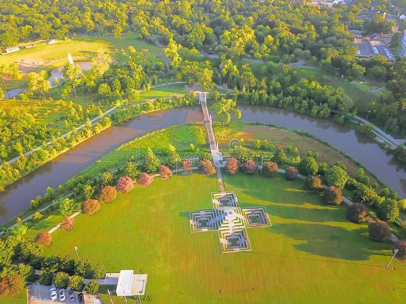 Parque del verde de la visión aérea en Houston céntrica, Tejas, los E.E.U.U. foto de archivo libre de regalías