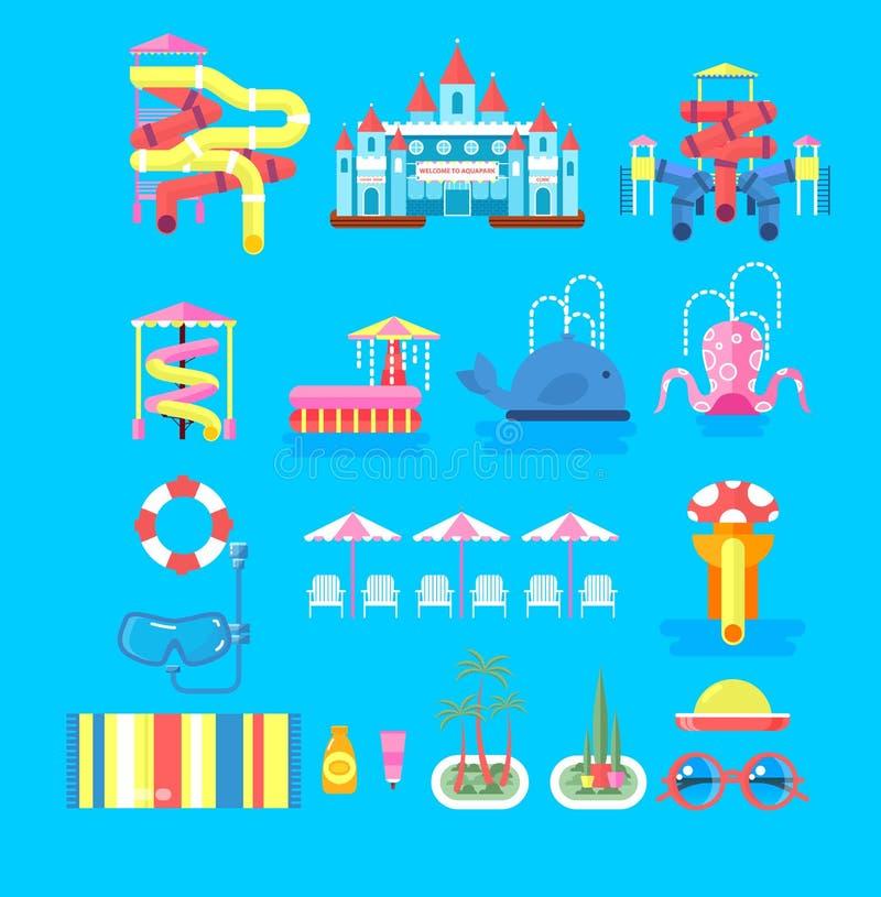 Parque determinado del agua de los elementos del ejemplo ilustración del vector