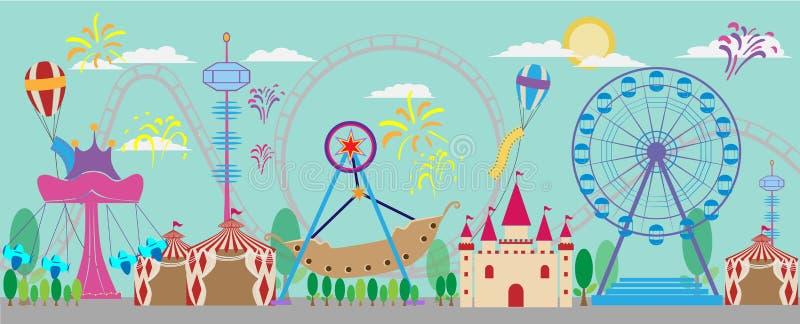 Parque, diversión, vector, carnaval, justo, rodillo, tienda, diversión, circ ilustración del vector
