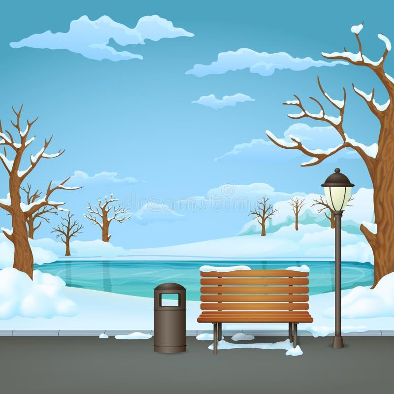 Parque do dia de inverno Banco de madeira coberto de neve, escaninho de lixo e lâmpada de rua com um lago congelado ilustração royalty free