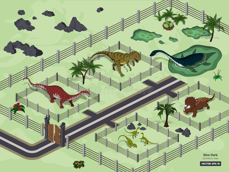 Parque do dinossauro no estilo isométrico Museu jurássico Jardim zoológico dos animais 3d antigos ilustração royalty free