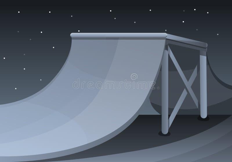 Parque do patim no fundo do conceito da noite, estilo dos desenhos animados ilustração do vetor