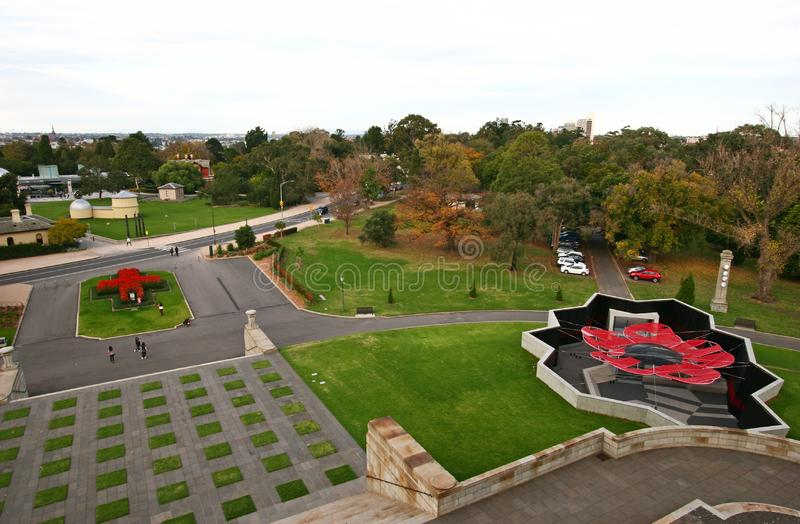 Parque do santuário de veteranos de comemoração da relembrança nas guerras em Melbourne, Victoria, Austrália fotos de stock