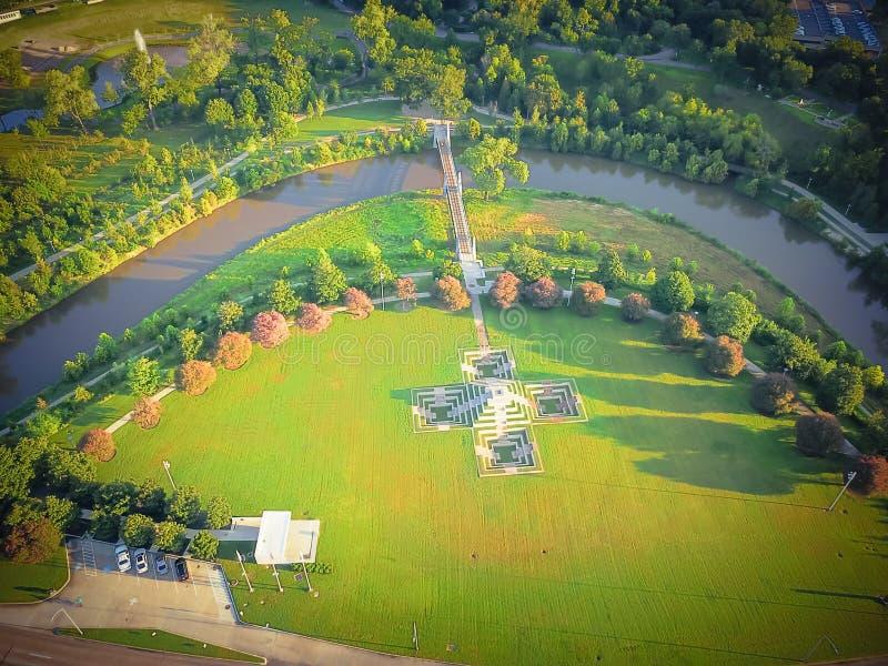 Parque do verde da vista aérea em Houston do centro, Texas, EUA fotos de stock royalty free