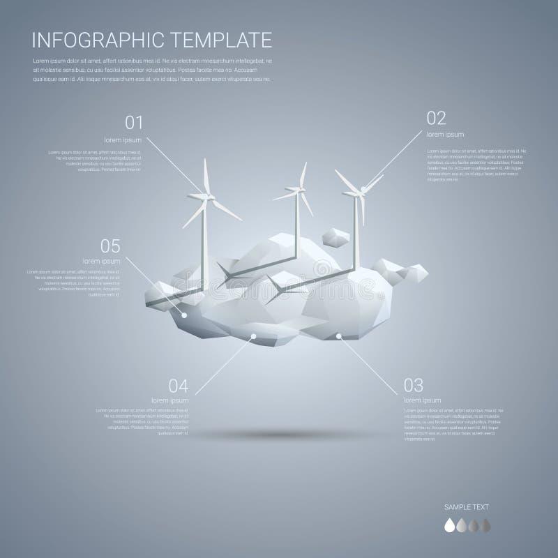 Parque eólico en plantilla del infographics de las nubes limpio ilustración del vector