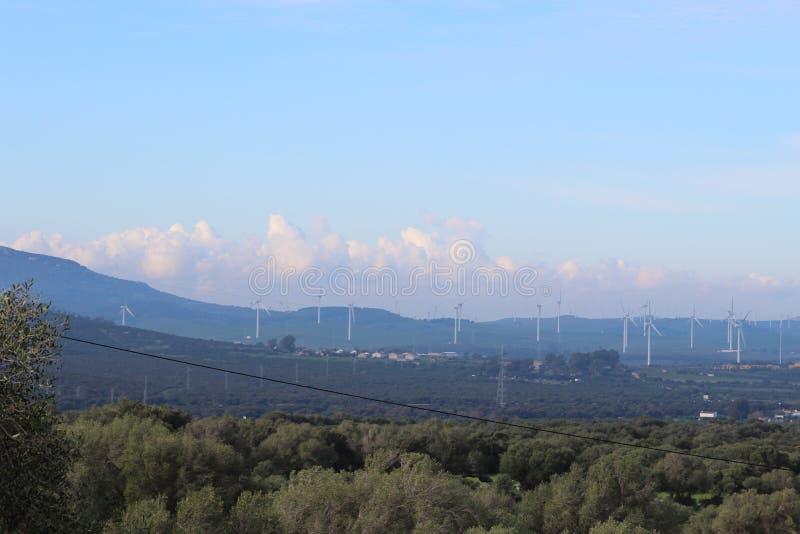 Parque eólico Fascinas, Andalucía, España imagen de archivo