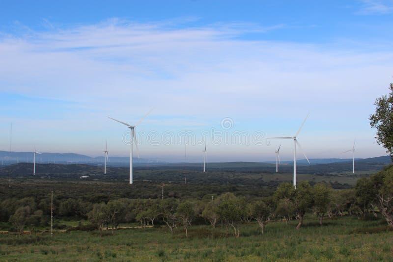 Parque eólico Fascinas, Andalucía, España foto de archivo libre de regalías
