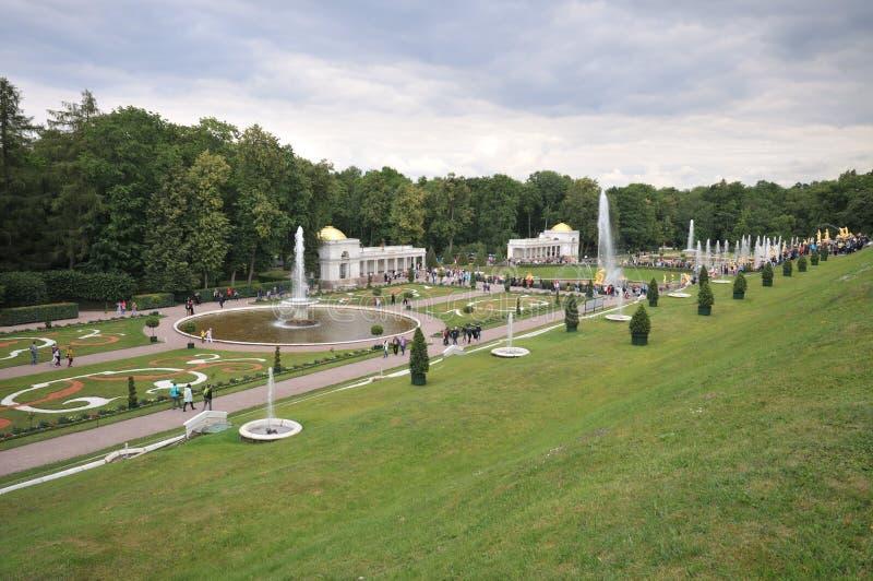 Parque e fontes de Peterhof fotografia de stock