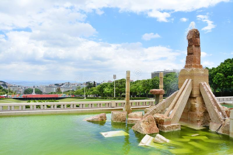 Parque e jardins de Eduardo VII em Lisboa fotografia de stock