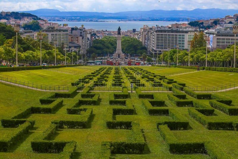 Parque e jardins de Eduardo VII em Lisboa, Portugal foto de stock royalty free
