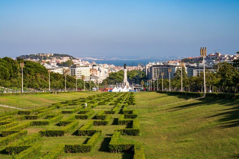 Parque Eduardo VII public park leading to Marques de Pombal monument stock image