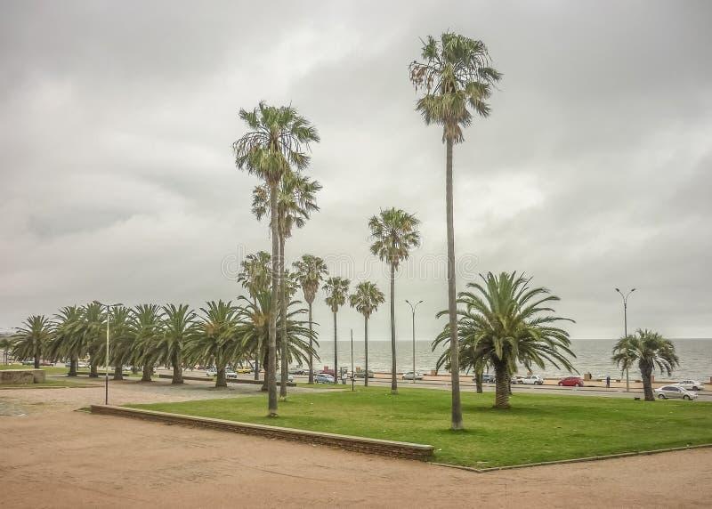 Parque en la costa de Montevideo foto de archivo