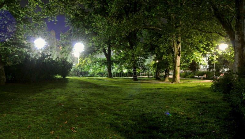 Parque en Novi Sad por noche imagen de archivo