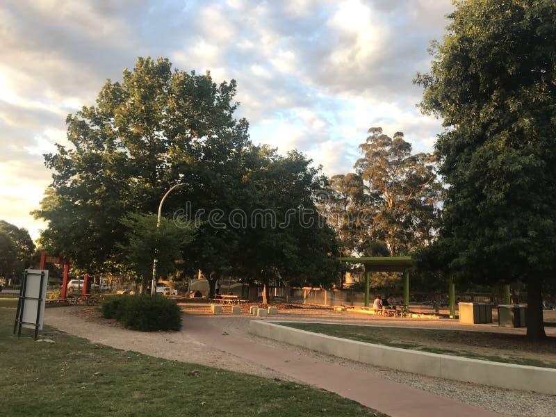 Parque entre árvores fotos de stock