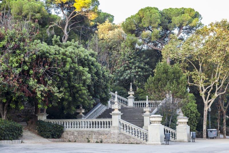 Parque, escaleras y jardín en el parc montjuic, Barcelona foto de archivo libre de regalías