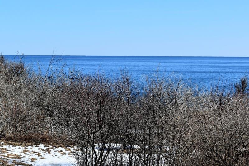 Parque estadual de duas luzes e vista para o mar circunvizinha no cabo Elizabeth, o Condado de Cumberland, Maine, MIM, Estados Un fotografia de stock