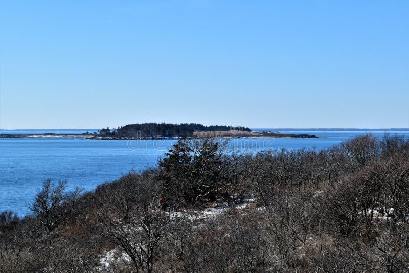 Parque estadual de duas luzes e vista para o mar circunvizinha no cabo Elizabeth, o Condado de Cumberland, Maine, MIM, Estados Un imagem de stock
