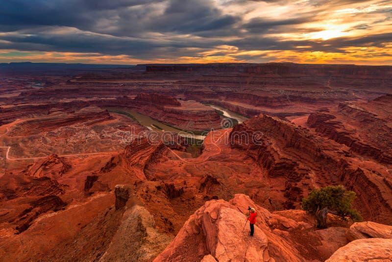 Parque estadual do ponto do cavalo inoperante, parque nacional de Canyonlands, Utá, E.U. imagens de stock