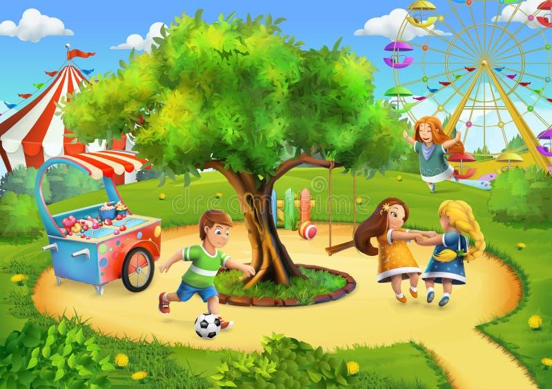 Parque, fundo do campo de jogos ilustração royalty free