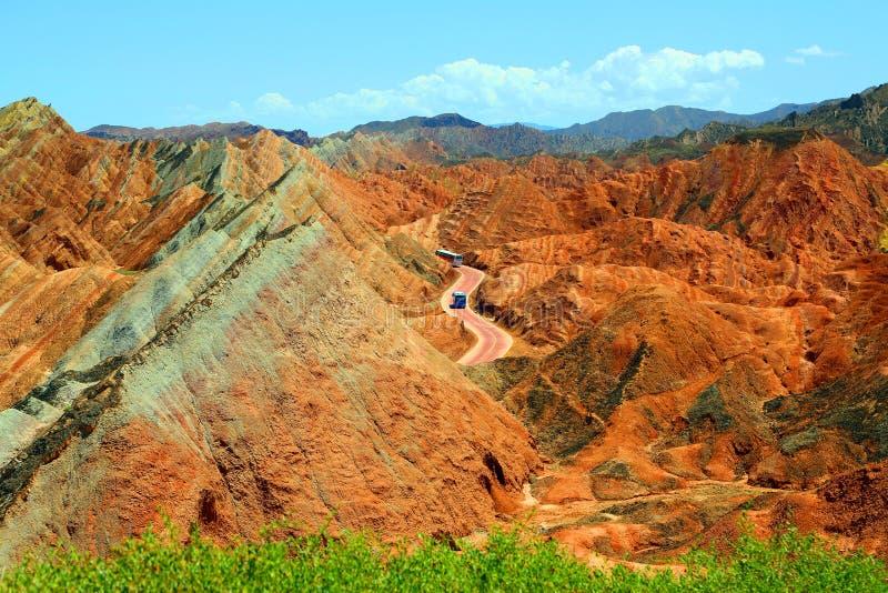 Parque geológico de Danxia, provincia de Zhangye, Gansu, China imágenes de archivo libres de regalías