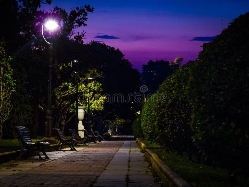 Parque groß in Saragossa nachts stockbilder