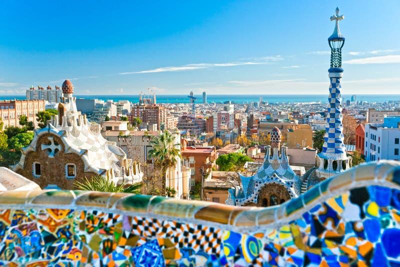 Parque Guell em Barcelona, Spain. imagens de stock