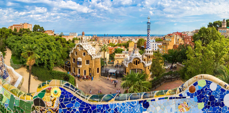 Parque Guell en Barcelona, España fotografía de archivo libre de regalías