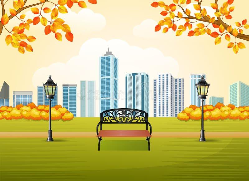 Parque hermoso de la ciudad del otoño con el fondo del edificio de la ciudad libre illustration