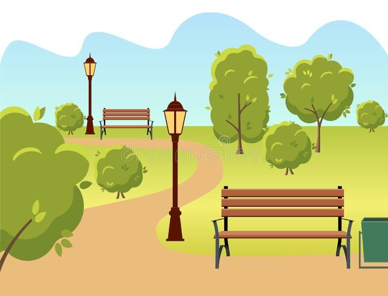Parque hermoso de la ciudad del verano con el banco, la linterna y la calzada verdes de los árboles ilustración del vector