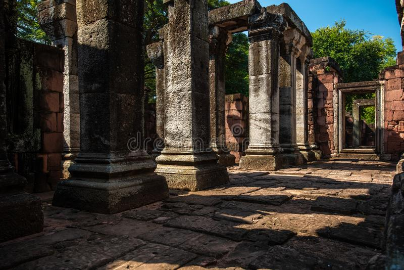 Parque histórico de Phimai: parque histórico y castillo antiguo en Nakhon Ratchasima, Tailandia imagen de archivo libre de regalías