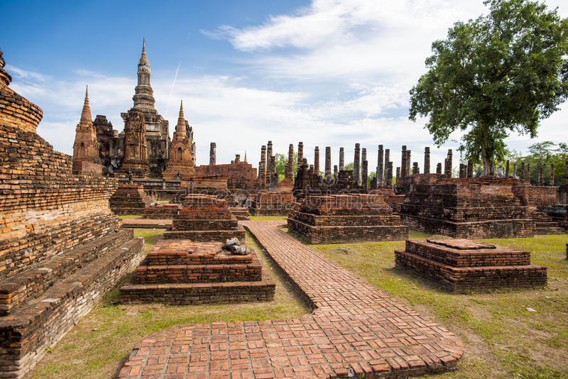 Parque histórico de Sukhothai, templo de Mahathat, Tailândia fotografia de stock
